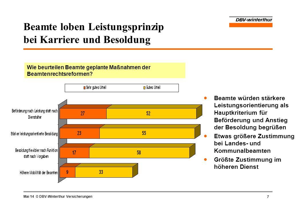 8 Mai 14 © DBV-Winterthur Versicherungen Beamte erwarten mehr Wettbewerb und mehr Verantwortung Welche Auswirkungen erwarten Beamte aufgrund der Dienstrechtsreformen.