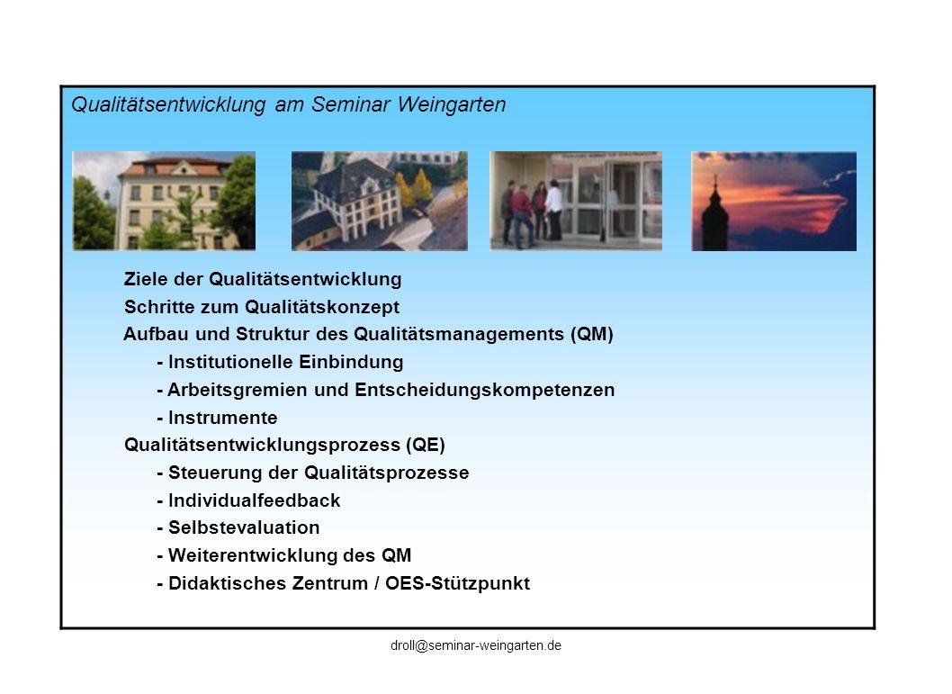 Qualitätsentwicklung am Seminar Weingarten Ziele der Qualitätsentwicklung Schritte zum Qualitätskonzept Aufbau und Struktur des Qualitätsmanagements (