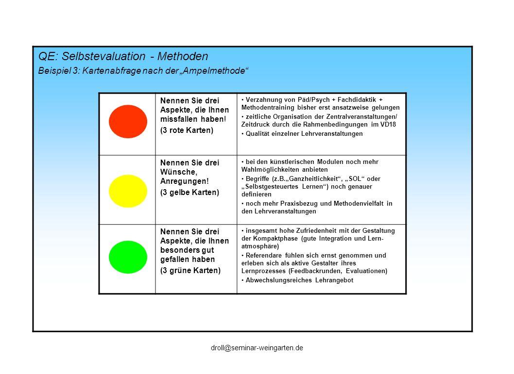 QE: Selbstevaluation - Methoden Beispiel 3: Kartenabfrage nach der Ampelmethode Nennen Sie drei Aspekte, die Ihnen missfallen haben! (3 rote Karten) V