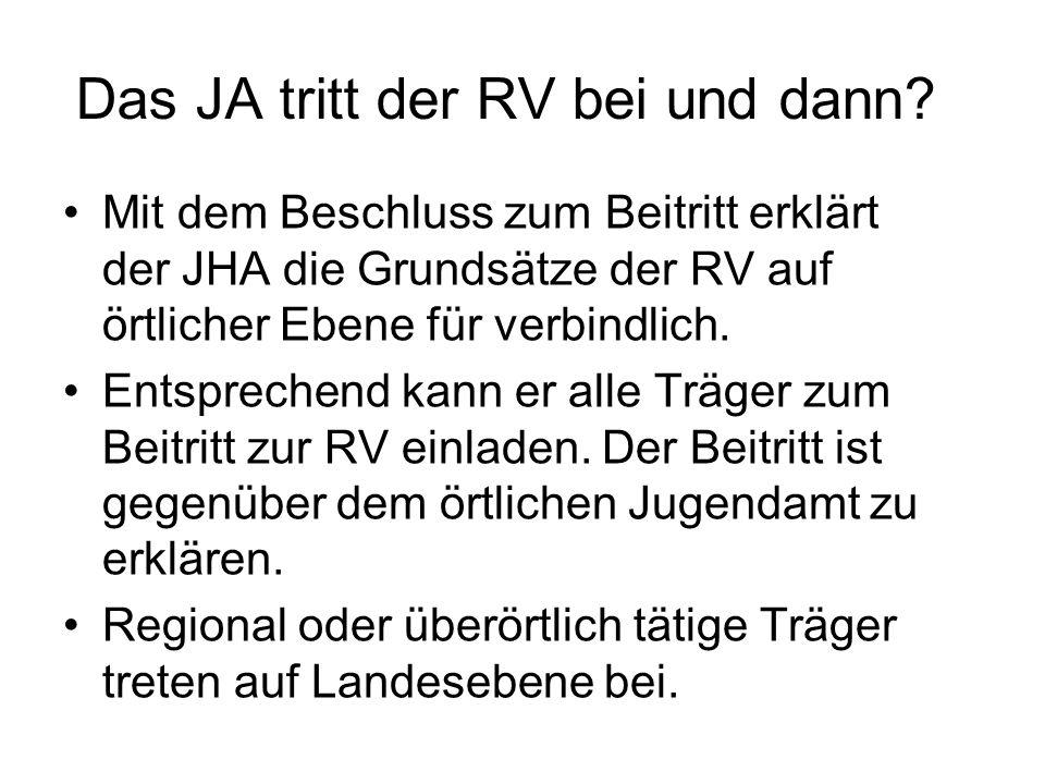 Das JA tritt der RV bei und dann? Mit dem Beschluss zum Beitritt erklärt der JHA die Grundsätze der RV auf örtlicher Ebene für verbindlich. Entspreche
