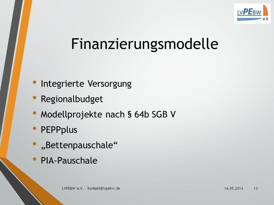 Finanzierungsmodelle Integrierte Versorgung Regionalbudget Modellprojekte nach § 64b SGB V PEPPplus Bettenpauschale PIA-Pauschale 16.05.2014LVPEBW e.V