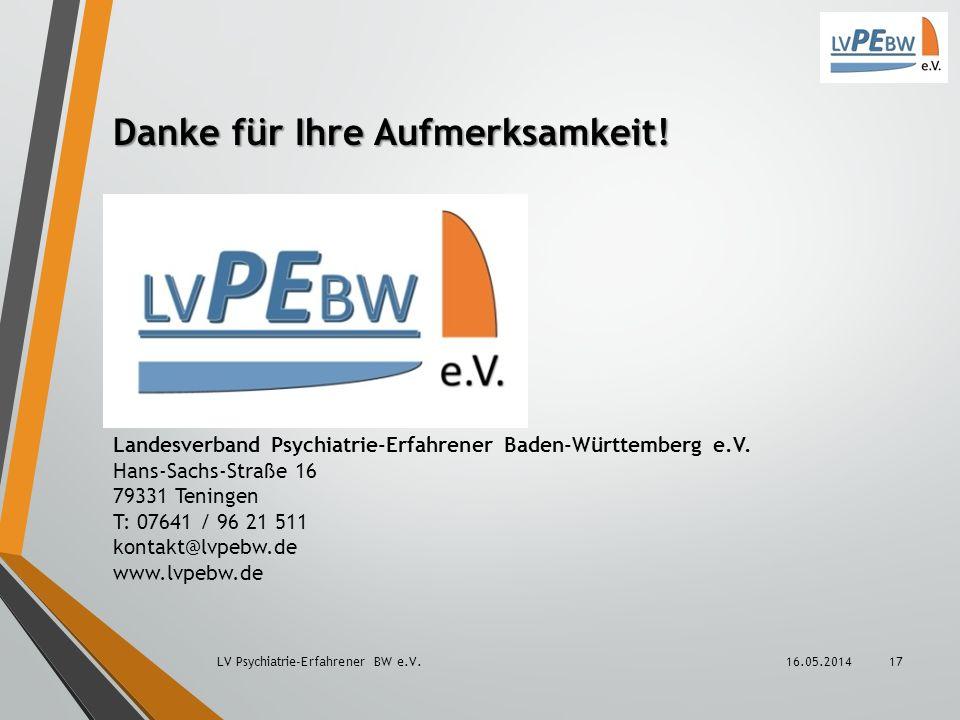 Danke für Ihre Aufmerksamkeit! Landesverband Psychiatrie-Erfahrener Baden-Württemberg e.V. Hans-Sachs-Straße 16 79331 Teningen T: 07641 / 96 21 511 ko