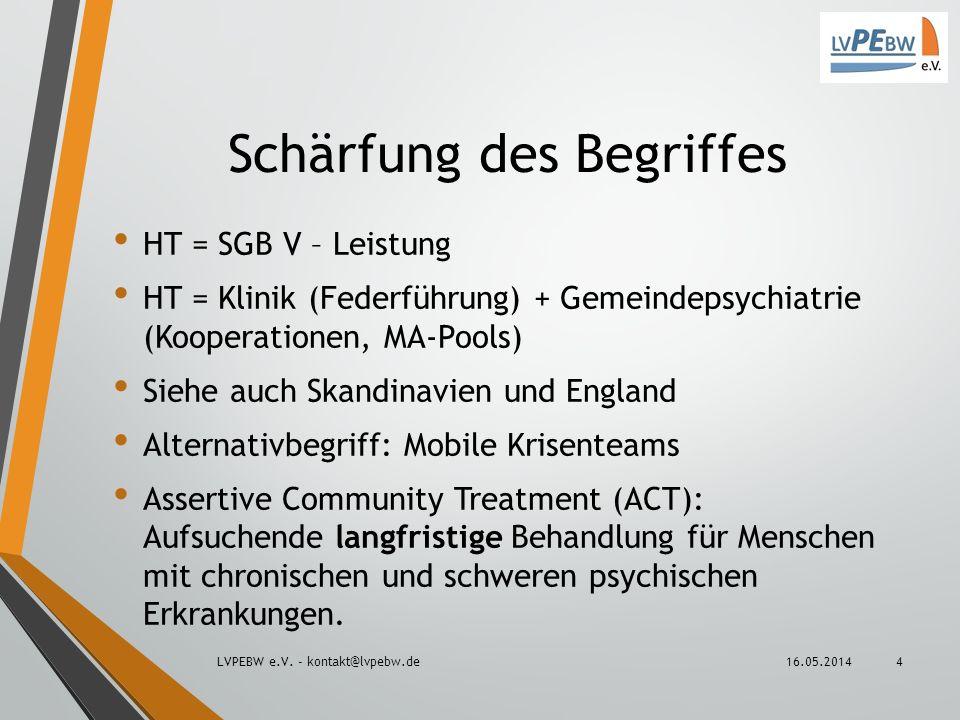 Schärfung des Begriffes HT = SGB V – Leistung HT = Klinik (Federführung) + Gemeindepsychiatrie (Kooperationen, MA-Pools) Siehe auch Skandinavien und E