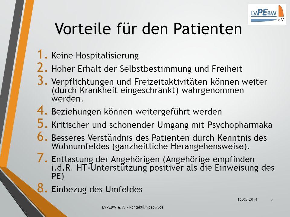 Vorteile für den Patienten 1. Keine Hospitalisierung 2. Hoher Erhalt der Selbstbestimmung und Freiheit 3. Verpflichtungen und Freizeitaktivitäten könn