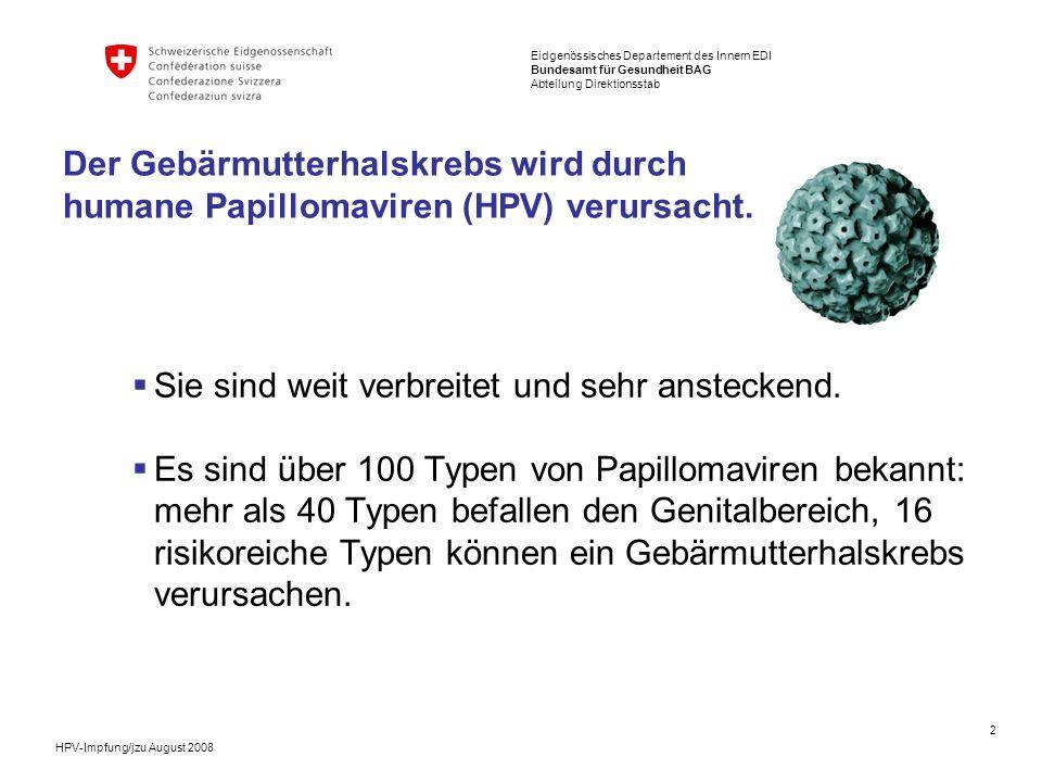 3 Eidgenössisches Departement des Innern EDI Bundesamt für Gesundheit BAG Abteilung Direktionsstab HPV-Impfung/jzu August 2008 70 von 100 Frauen infizieren sich im Verlauf ihres Lebens mit Papillomaviren.