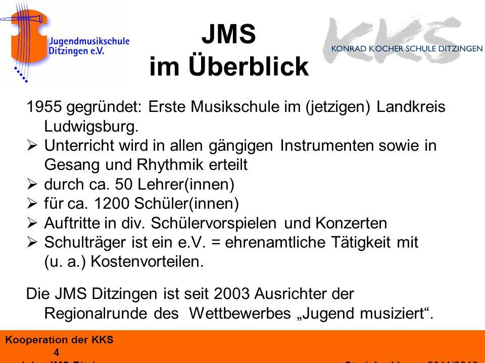 Kooperation der KKS 5 und der JMS Ditzingen Streicherklasse 2011/2012 KKS Streicher- klasse