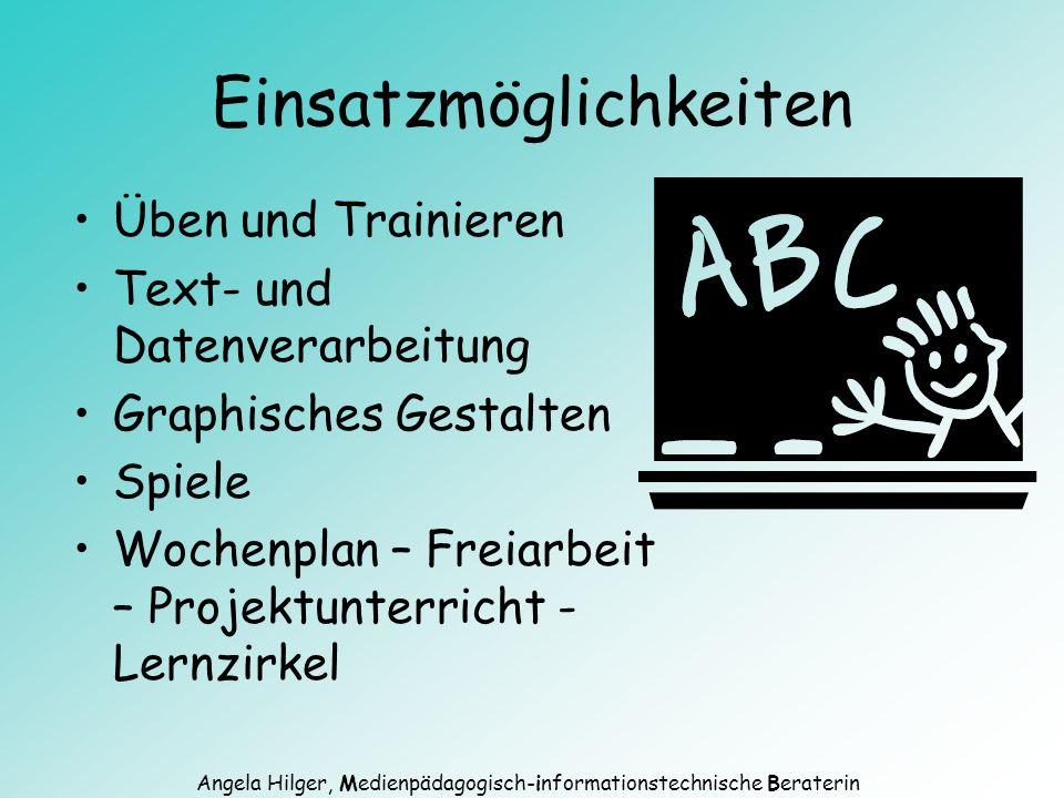 Angela Hilger, Medienpädagogisch-informationstechnische Beraterin Räumliche Organisation Einzelplätze - Integration in den Unterricht - Differenzierung Computerraum - Einfache Wartung - Klassenunterricht - Förder- und Gruppen- unterricht