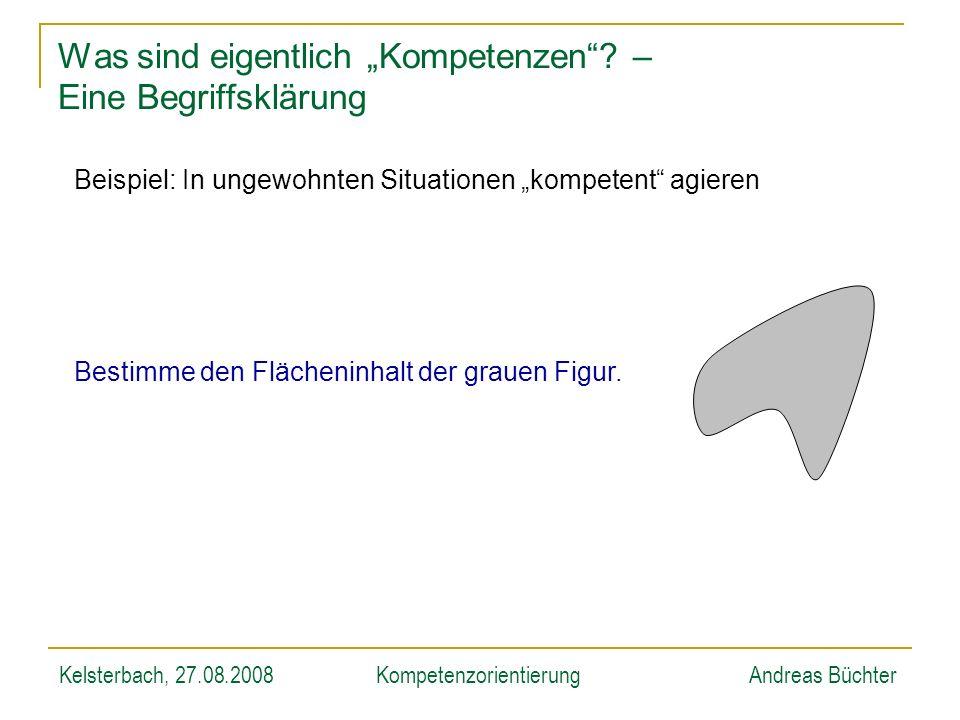 Kelsterbach, 27.08.2008KompetenzorientierungAndreas Büchter Was sind eigentlich Kompetenzen? – Eine Begriffsklärung Beispiel: In ungewohnten Situation