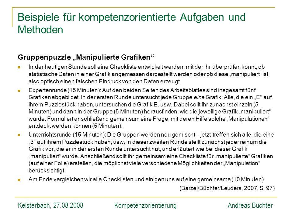 Kelsterbach, 27.08.2008KompetenzorientierungAndreas Büchter Gruppenpuzzle Manipulierte Grafiken In der heutigen Stunde soll eine Checkliste entwickelt