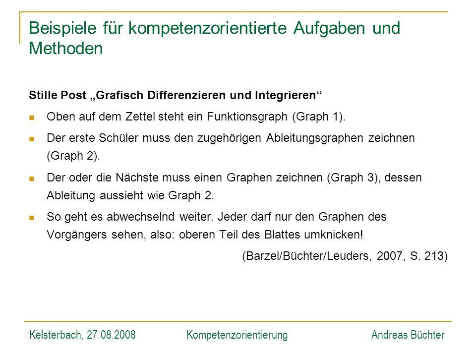Kelsterbach, 27.08.2008KompetenzorientierungAndreas Büchter Beispiele für kompetenzorientierte Aufgaben und Methoden Stille Post Grafisch Differenzier
