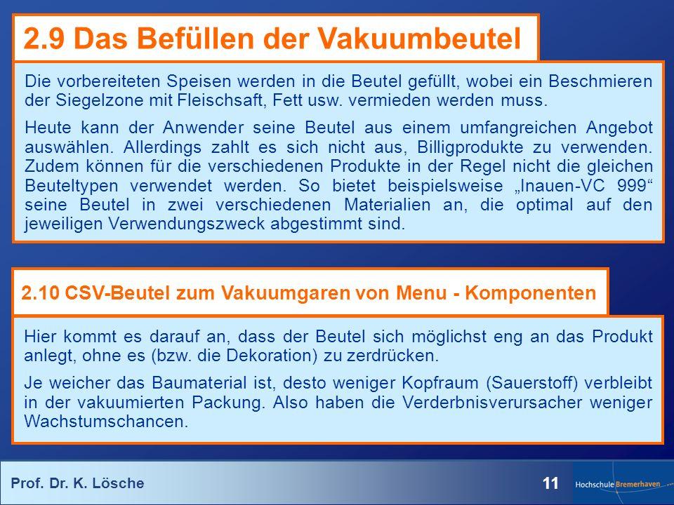 Prof. Dr. K. Lösche 11 Die vorbereiteten Speisen werden in die Beutel gefüllt, wobei ein Beschmieren der Siegelzone mit Fleischsaft, Fett usw. vermied