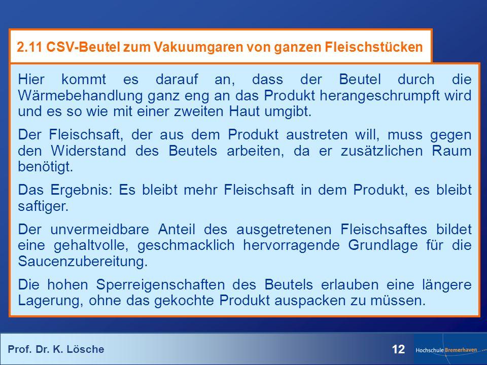 Prof. Dr. K. Lösche 12 Hier kommt es darauf an, dass der Beutel durch die Wärmebehandlung ganz eng an das Produkt herangeschrumpft wird und es so wie