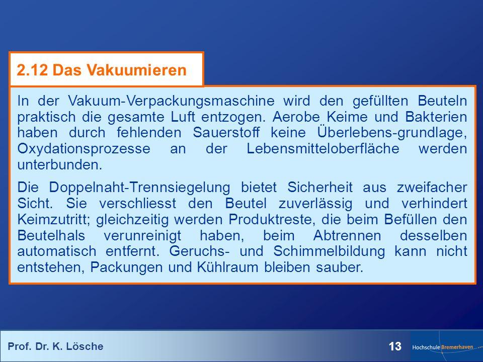 Prof. Dr. K. Lösche 13 In der Vakuum-Verpackungsmaschine wird den gefüllten Beuteln praktisch die gesamte Luft entzogen. Aerobe Keime und Bakterien ha