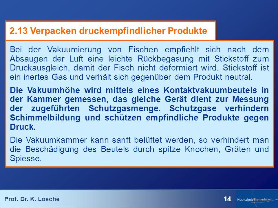 Prof. Dr. K. Lösche 14 Bei der Vakuumierung von Fischen empfiehlt sich nach dem Absaugen der Luft eine leichte Rückbegasung mit Stickstoff zum Druckau