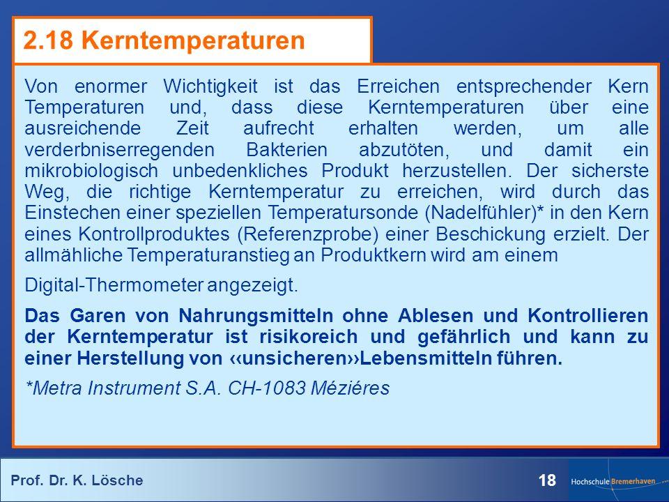 Prof. Dr. K. Lösche 18 Von enormer Wichtigkeit ist das Erreichen entsprechender Kern Temperaturen und, dass diese Kerntemperaturen über eine ausreiche