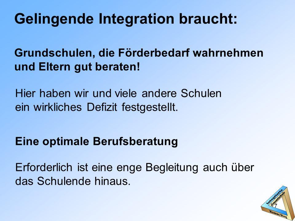 Gelingende Integration braucht: Grundschulen, die Förderbedarf wahrnehmen und Eltern gut beraten.