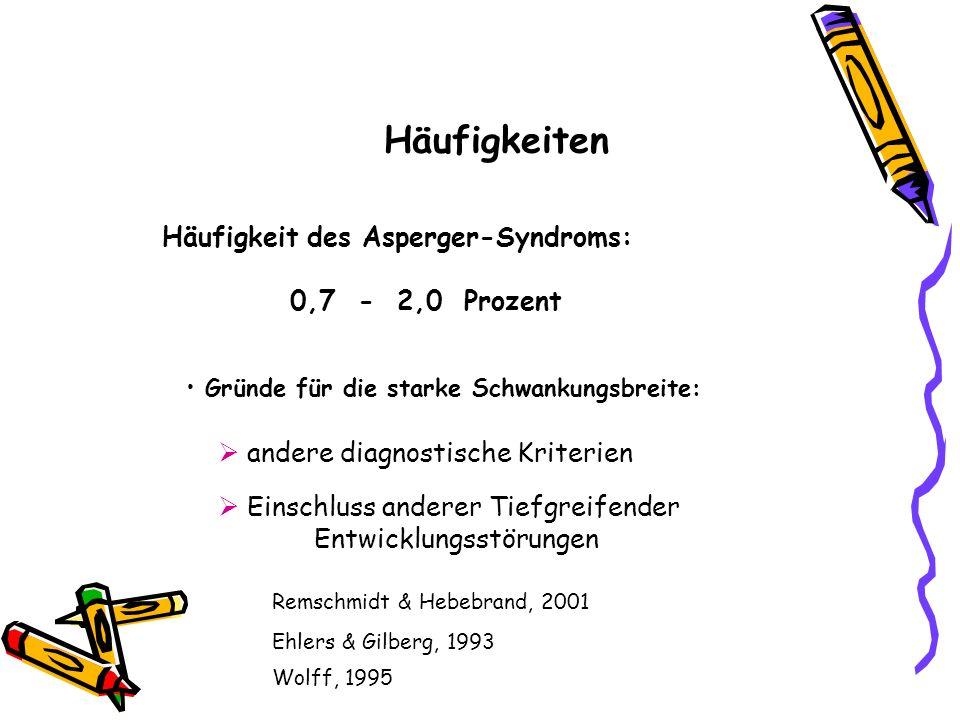 Häufigkeit des Asperger-Syndroms: 0,7 - 2,0 Prozent Gründe für die starke Schwankungsbreite: andere diagnostische Kriterien Einschluss anderer Tiefgre