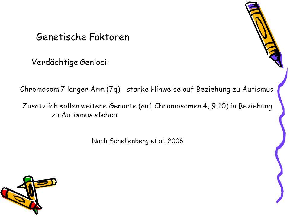 Verdächtige Genloci: Chromosom 7 langer Arm (7q) starke Hinweise auf Beziehung zu Autismus Zusätzlich sollen weitere Genorte (auf Chromosomen 4, 9,10)