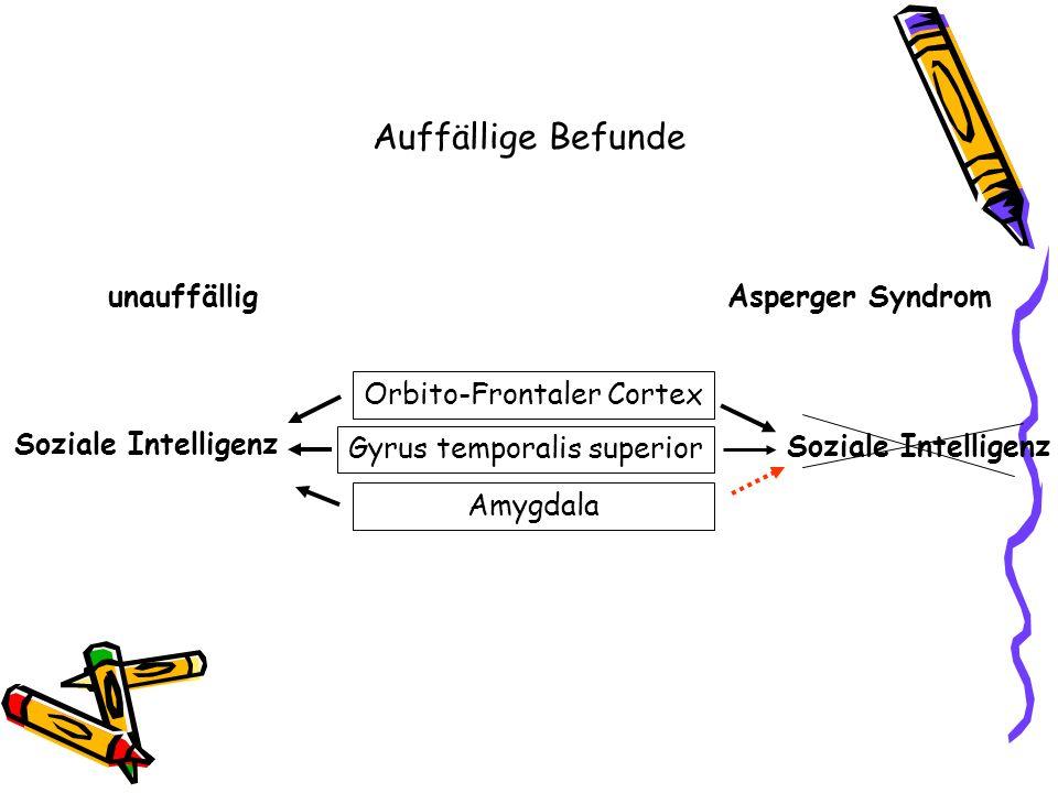 Soziale Intelligenz Orbito-Frontaler Cortex Gyrus temporalis superior Amygdala Soziale Intelligenz unauffälligAsperger Syndrom Auffällige Befunde
