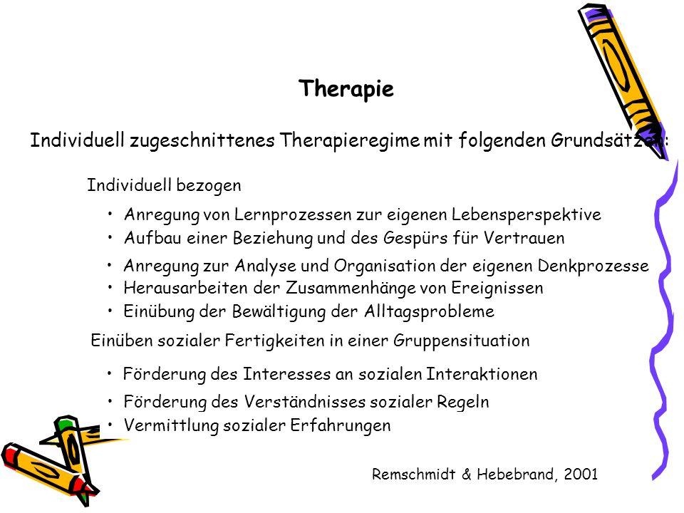 Therapie Individuell zugeschnittenes Therapieregime mit folgenden Grundsätzen: Anregung von Lernprozessen zur eigenen Lebensperspektive Aufbau einer B