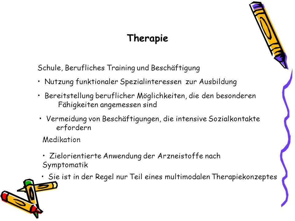 Therapie Nutzung funktionaler Spezialinteressen zur Ausbildung Schule, Berufliches Training und Beschäftigung Bereitstellung beruflicher Möglichkeiten