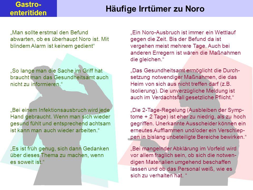Häufige Irrtümer zu Noro Man sollte erstmal den Befund abwarten, ob es überhaupt Noro ist. Mit blindem Alarm ist keinem gedient So lange man die Sache