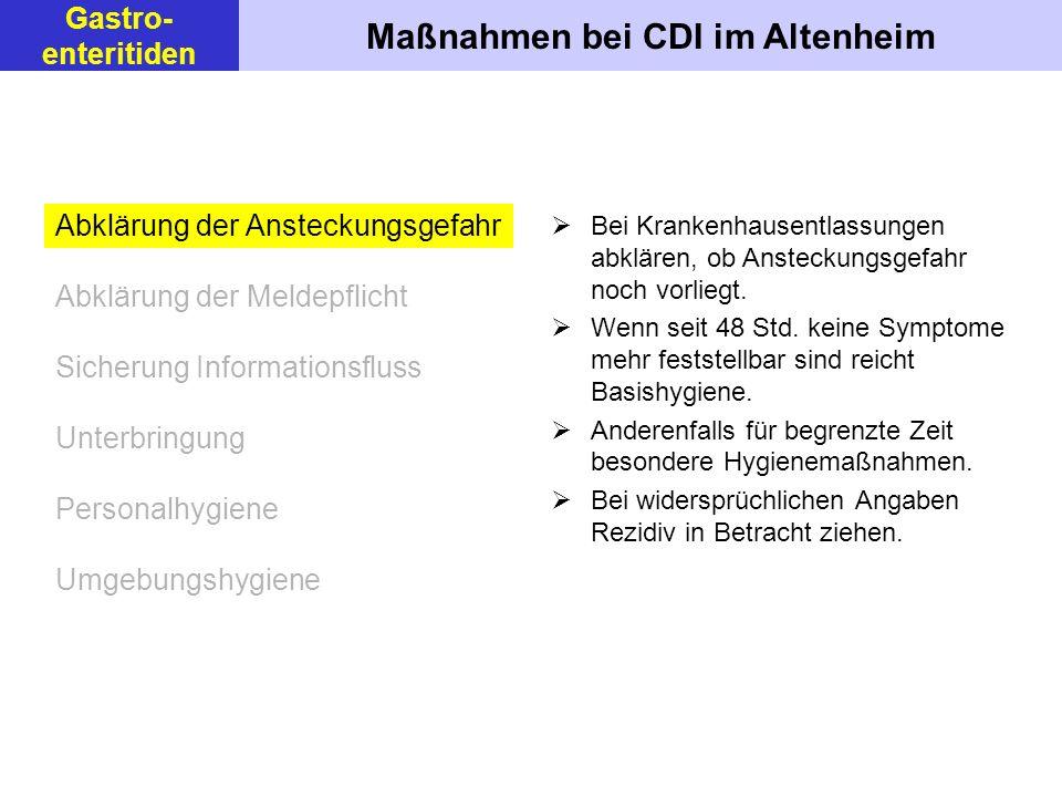 Maßnahmen bei CDI im Altenheim Gastro- enteritiden Bei Krankenhausentlassungen abklären, ob Ansteckungsgefahr noch vorliegt.