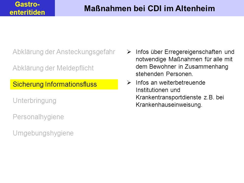 Maßnahmen bei CDI im Altenheim Gastro- enteritiden Infos über Erregereigenschaften und notwendige Maßnahmen für alle mit dem Bewohner in Zusammenhang stehenden Personen.