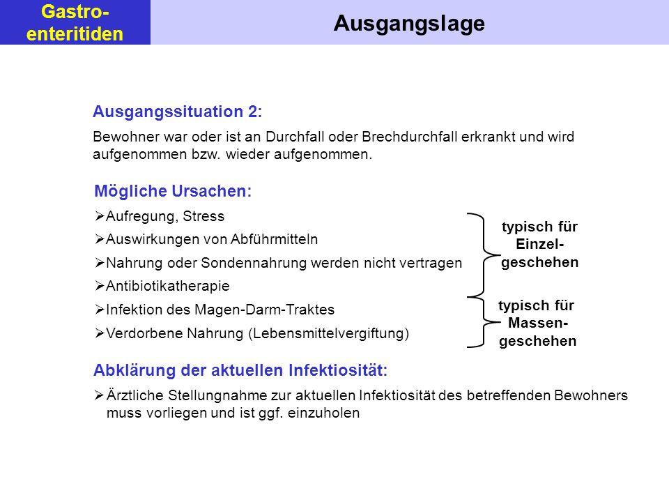 typisch für Massen- geschehen Ausgangslage Ausgangssituation 2: Bewohner war oder ist an Durchfall oder Brechdurchfall erkrankt und wird aufgenommen b