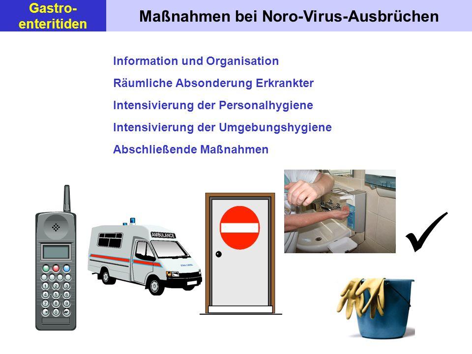 Maßnahmen bei Noro-Virus-Ausbrüchen Information und Organisation Räumliche Absonderung Erkrankter Intensivierung der Personalhygiene Intensivierung der Umgebungshygiene Abschließende Maßnahmen Gastro- enteritiden
