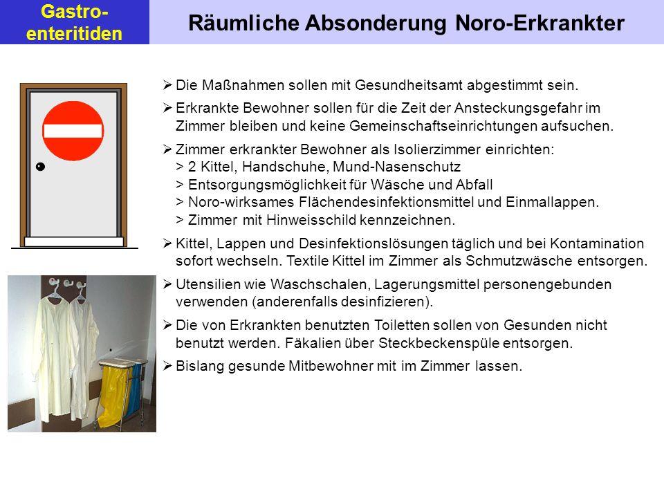 Räumliche Absonderung Noro-Erkrankter Die Maßnahmen sollen mit Gesundheitsamt abgestimmt sein. Erkrankte Bewohner sollen für die Zeit der Ansteckungsg