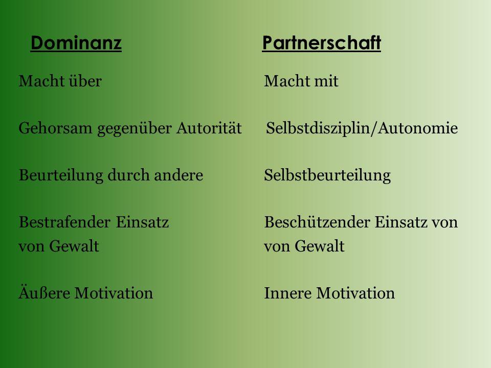 Dominanz Partnerschaft Macht über Macht mit Gehorsam gegenüber Autorität Selbstdisziplin/Autonomie Beurteilung durch andere Selbstbeurteilung Bestrafe