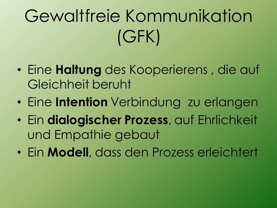 Gewaltfreie Kommunikation (GFK) Eine Haltung des Kooperierens, die auf Gleichheit beruht Eine Intention Verbindung zu erlangen Ein dialogischer Prozes