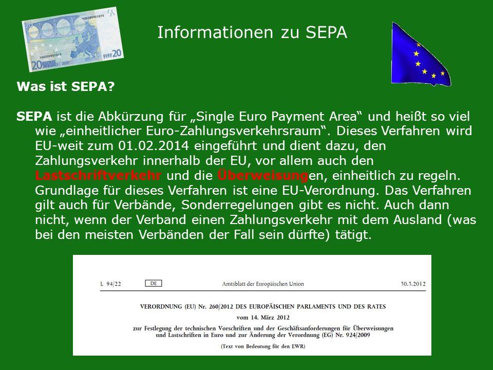 Informationen zu SEPA Was ist SEPA? SEPA ist die Abkürzung für Single Euro Payment Area und heißt so viel wie einheitlicher Euro-Zahlungsverkehrsraum.