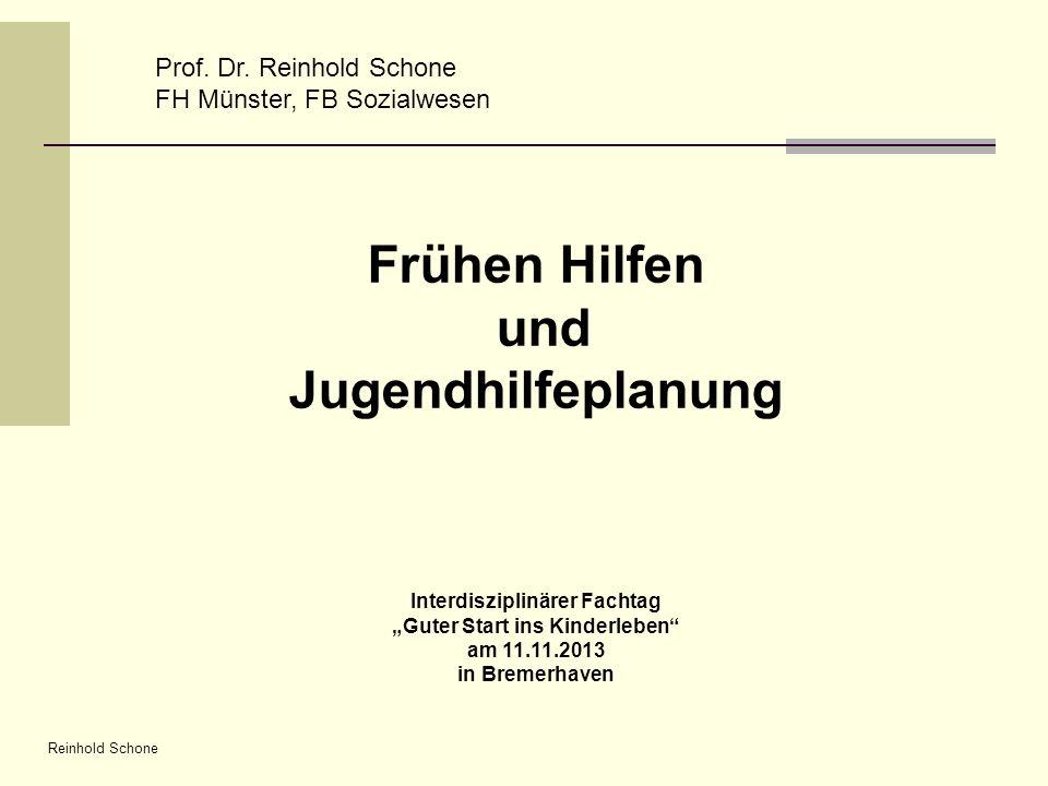 Reinhold Schone Prof. Dr. Reinhold Schone FH Münster, FB Sozialwesen Frühen Hilfen und Jugendhilfeplanung Interdisziplinärer Fachtag Guter Start ins K
