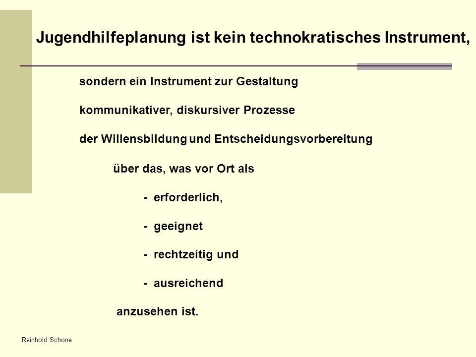 Reinhold Schone Jugendhilfeplanung ist kein technokratisches Instrument, sondern ein Instrument zur Gestaltung kommunikativer, diskursiver Prozesse de