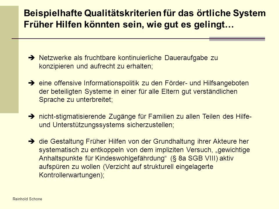 Reinhold Schone Netzwerke als fruchtbare kontinuierliche Daueraufgabe zu konzipieren und aufrecht zu erhalten; eine offensive Informationspolitik zu d