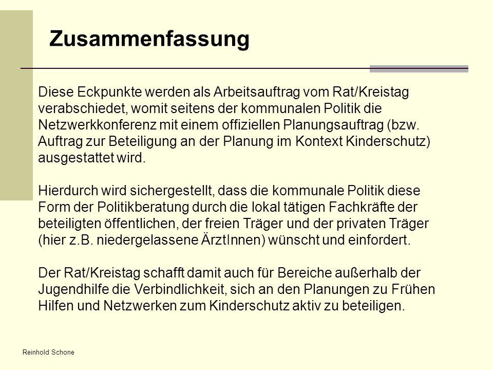 Reinhold Schone Zusammenfassung Diese Eckpunkte werden als Arbeitsauftrag vom Rat/Kreistag verabschiedet, womit seitens der kommunalen Politik die Net