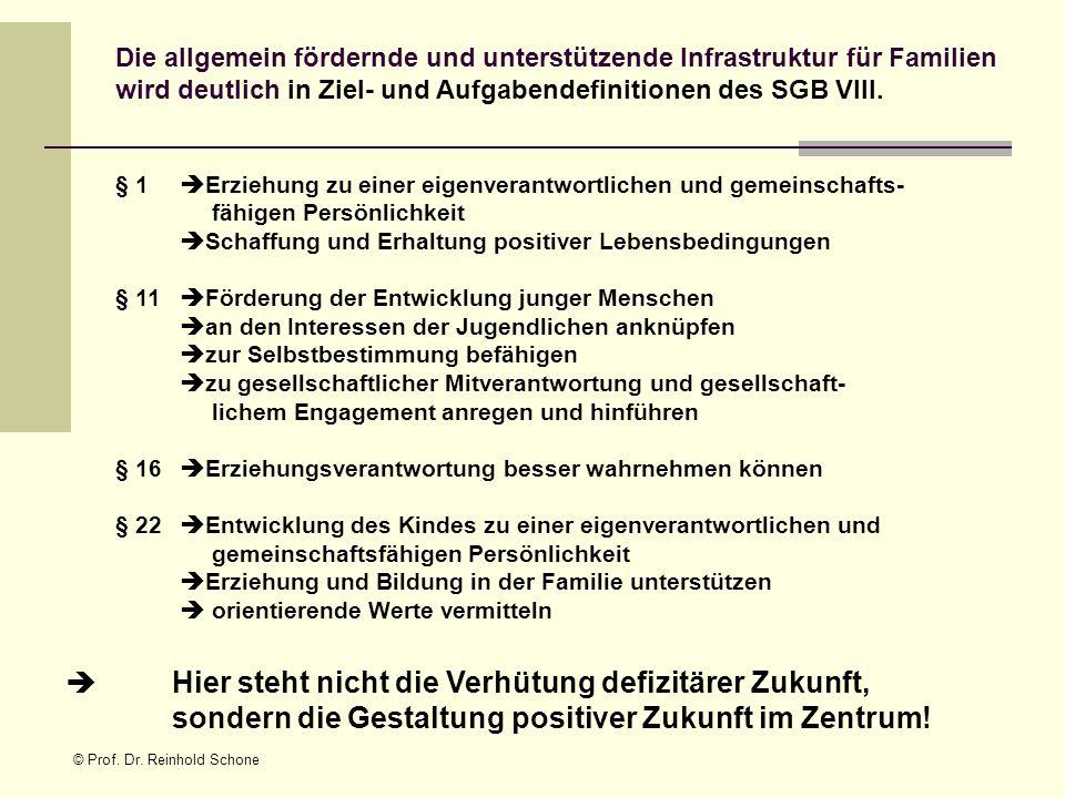 © Prof. Dr. Reinhold Schone Die allgemein fördernde und unterstützende Infrastruktur für Familien wird deutlich in Ziel- und Aufgabendefinitionen des