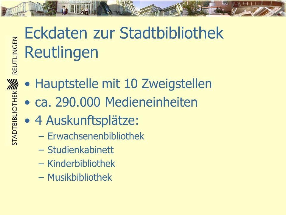 Eckdaten zur Stadtbibliothek Reutlingen Hauptstelle mit 10 Zweigstellen ca. 290.000 Medieneinheiten 4 Auskunftsplätze: –Erwachsenenbibliothek –Studien