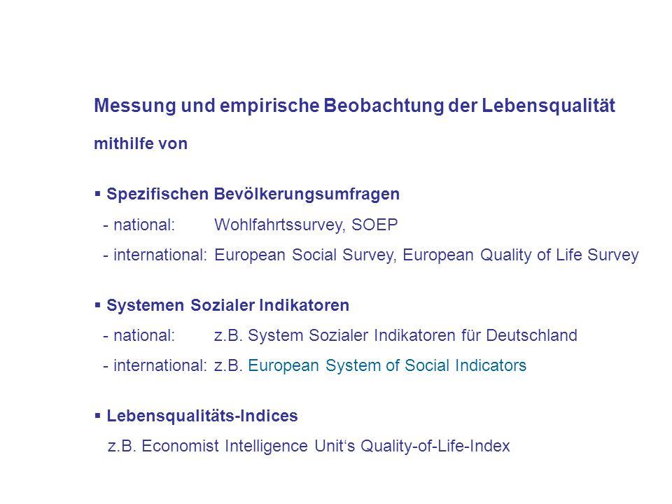 Messung und empirische Beobachtung der Lebensqualität mithilfe von Spezifischen Bevölkerungsumfragen - national: Wohlfahrtssurvey, SOEP - internationa