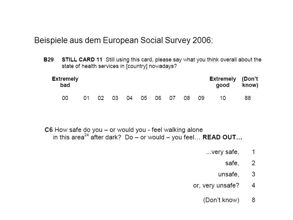 Beispiele aus dem European Social Survey 2006: