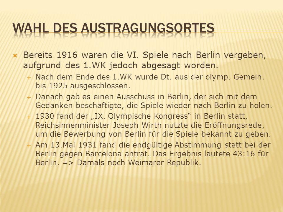 Bereits 1916 waren die VI.Spiele nach Berlin vergeben, aufgrund des 1.WK jedoch abgesagt worden.