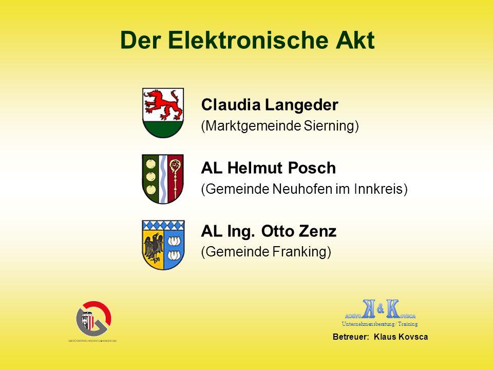 Projektbeteiligte und Gemeinden Helmut Posch Ing.Otto Zenz Gemeinde Neuhofen i.