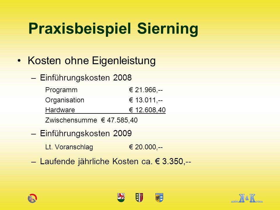 Kosten ohne Eigenleistung –Einführungskosten 2008 Programm 21.966,-- Organisation 13.011,-- Hardware 12.608,40 Zwischensumme 47.585,40 –Einführungskosten 2009 Lt.