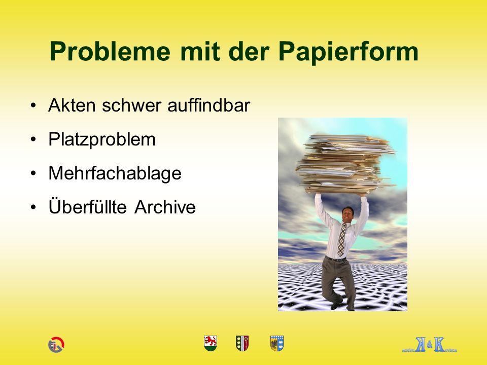 Akten schwer auffindbar Platzproblem Mehrfachablage Überfüllte Archive Probleme mit der Papierform