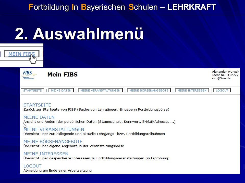 Fortbildung In Bayerischen Schulen – LEHRKRAFT 2. Auswahlmenü