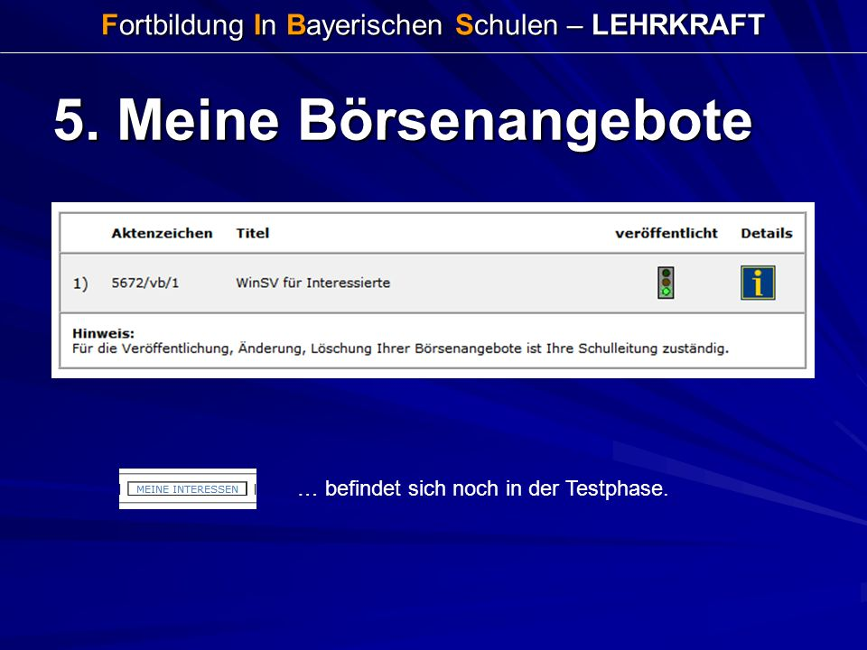 Fortbildung In Bayerischen Schulen – LEHRKRAFT 5. Meine Börsenangebote … befindet sich noch in der Testphase.