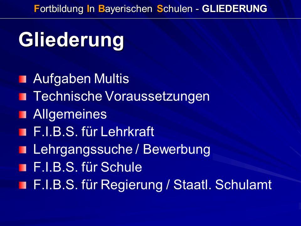 Fortbildung In Bayerischen Schulen - GLIEDERUNG Gliederung Aufgaben Multis Technische Voraussetzungen Allgemeines F.I.B.S. für Lehrkraft Lehrgangssuch