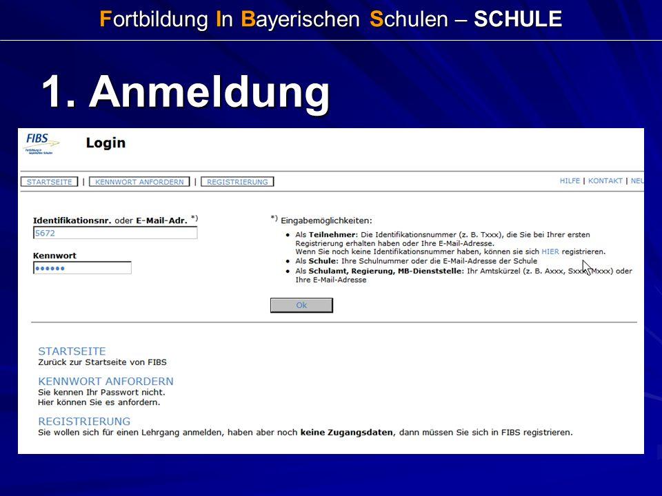 Fortbildung In Bayerischen Schulen – SCHULE 1. Anmeldung